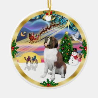 Xmas Magic - St. Bernard 1 Ceramic Ornament