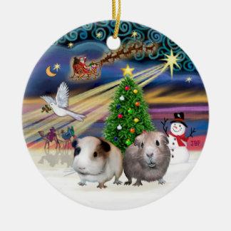 Xmas Magic - Two Guinea Pigs Ceramic Ornament