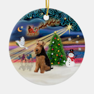 Xmas Magic - Welsh Terrier Ceramic Ornament