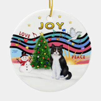 Xmas Music #1 - Black and White cat Round Ceramic Decoration