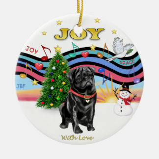 Xmas Music 1 - Black Pug Ceramic Ornament