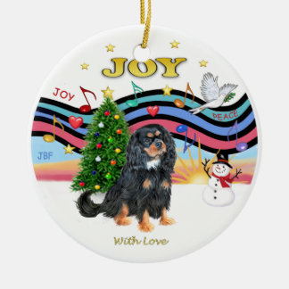 Xmas Music 1 - Cavalier (Black and Tan) Ceramic Ornament