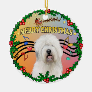 Xmas Music 1 - Old English Sheepdog Ceramic Ornament