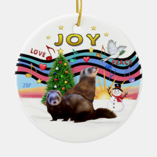 Xmas Music 1 - Two Ferrets Ceramic Ornament