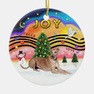 Xmas Music 2 - Greyhound (fawn liying down) Ceramic Ornament