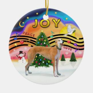 Xmas Music 2 - Greyhound (light red) Ceramic Ornament
