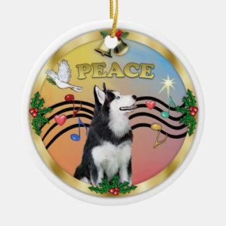 Xmas Music 3 - PEACE - Siberian Husky 1 Ceramic Ornament