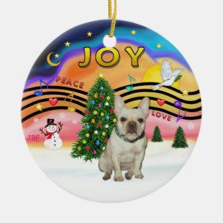 Xmas Music - French Bulldog (fawn) Ceramic Ornament