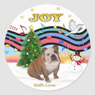 Xmas Music (RP) - English Bulldog 1 Classic Round Sticker