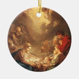 Xmas Nativity Scene Adoration of the Shepherds Round Ceramic Decoration