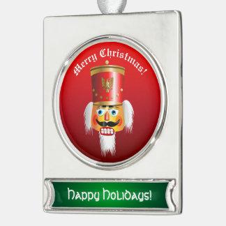 Xmas Nutcracker Toy Soldier Custom Cartoon Silver Plated Banner Ornament