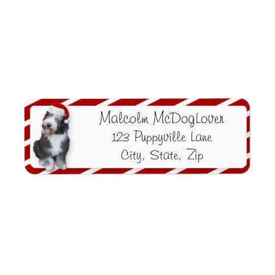 Xmas Old English Sheepdog Puppy Return Address Label