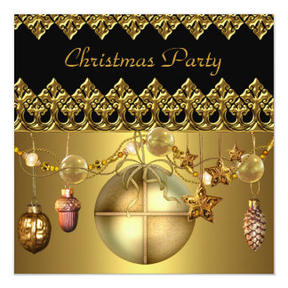 Xmas Party Christmas Gold Black Gold Balls Bells Personalized Announcement