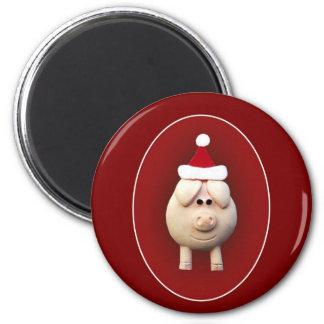 Xmas Piggy 6 Cm Round Magnet
