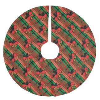 xmas plaid pattern brushed polyester tree skirt