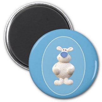 Xmas Polar Bear 6 Cm Round Magnet