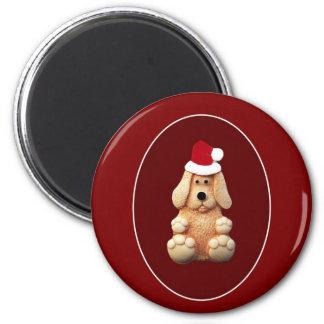 Xmas Puppy 6 Cm Round Magnet