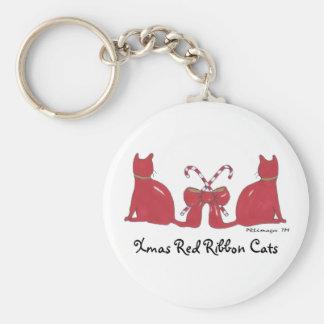 Xmas Red Ribbon Cats Basic Round Button Key Ring