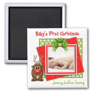 Xmas Reindeer Baby's First Christmas Magnet