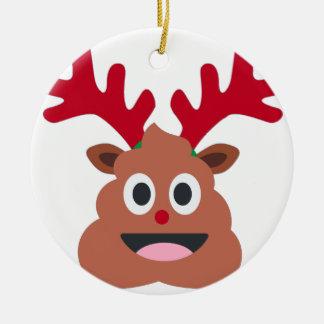 xmas reindeer poo emoji ceramic ornament