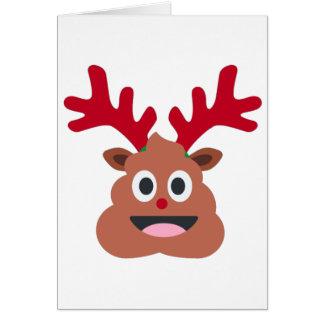 xmas reindeer poo emoji greeting card