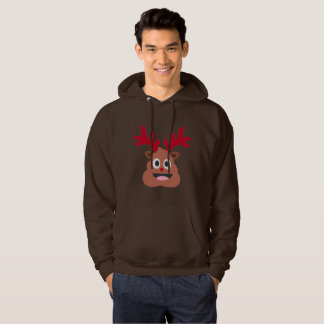 xmas reindeer poo emoji mens hooded sweatshirt