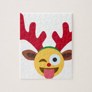 xmas reindeer wink emoji jigsaw puzzles
