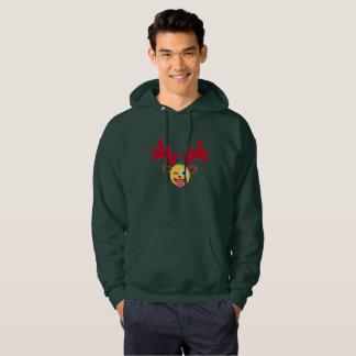 xmas reindeer wink emoji mens hooded sweatshirt