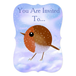 Xmas Robin Invitation Card