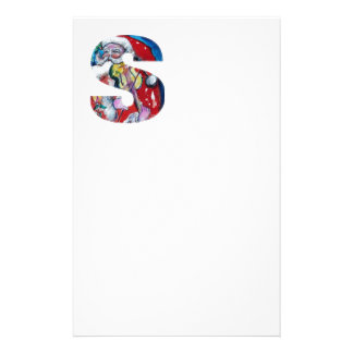 XMAS S LETTER /SANTA  CLAUS WITH VIOLIN MONOGRAM STATIONERY PAPER