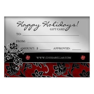 Xmas Salon Gift Card Spa Floral Red Silver Business Cards