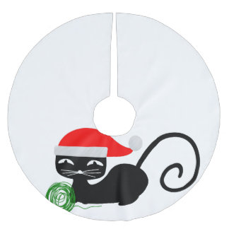 xmas santa cat christmas tree skirt