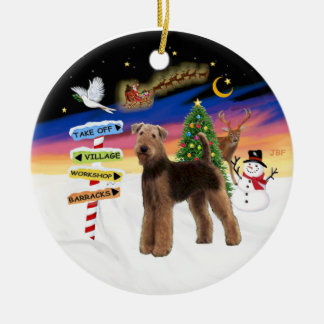 Xmas Signs - Airedale (standing) Ceramic Ornament