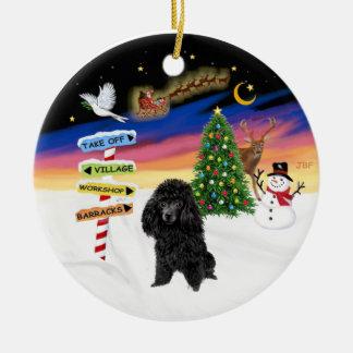 Xmas Signs - Black Toy Poodle Round Ceramic Decoration