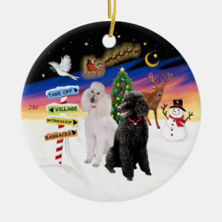 Xmas Signs - Two Standard Poodles (B+W) Ceramic Ornament