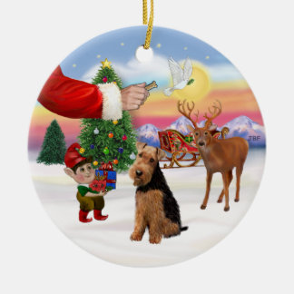 Xmas Signs - Welsh Terrier Round Ceramic Decoration