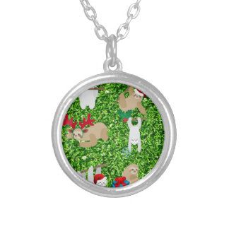 xmas sloth silver plated necklace