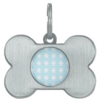 xmas snowflakes. Light Blue-white Pet Name Tag