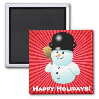 Xmas Snowman Square Magnet