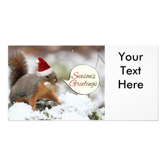 Xmas Squirrel in Snow Photo Greeting Card