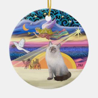 Xmas Star - Blue Cream Ragdoll cat Ceramic Ornament
