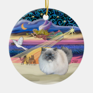 Xmas Star - Blue Smoke Himalayan cat Ceramic Ornament