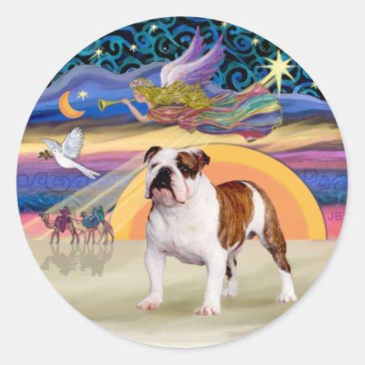 Xmas Star (R) - English Bulldog 5 Round Stickers