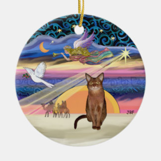Xmas Star - Ruddy Abyssinian cat Ceramic Ornament