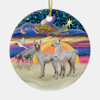 Xmas Star - Two Baby Llamas Ceramic Ornament