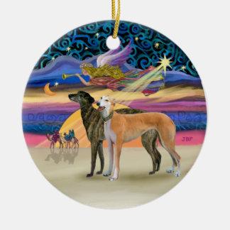 Xmas Star - Two Greyhounds Ceramic Ornament