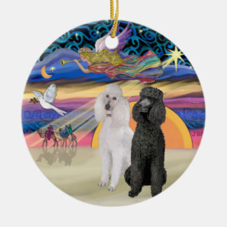 Xmas Star - Two Standard Poodles (W+Blk) Ceramic Ornament