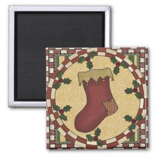 Xmas Stocking Square Magnet