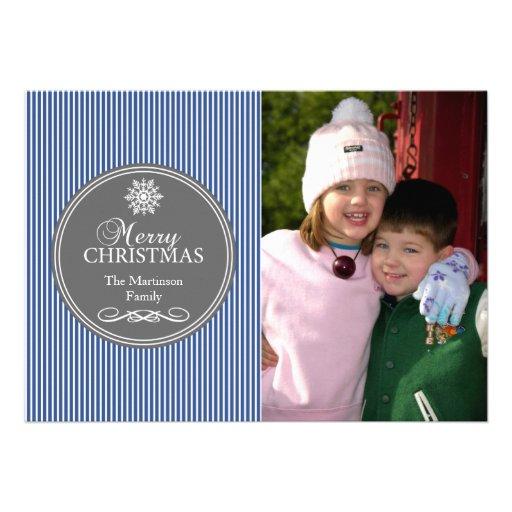 Xmas Stripes Christmas Card (Blue / Gray)