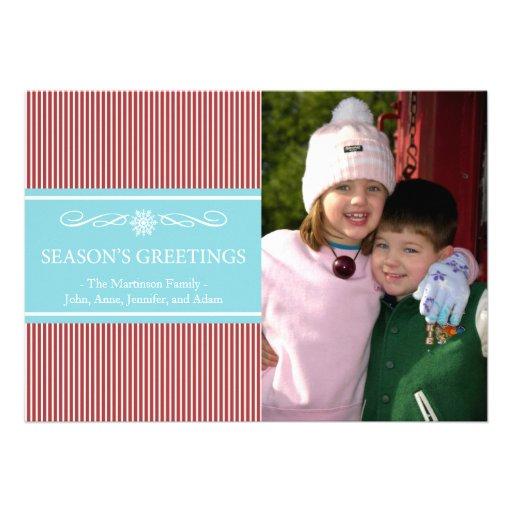 Xmas Stripes Christmas Card (Brugandy / Teal)
